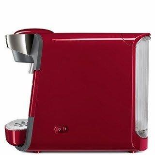 Vista lateral de la cafetera Tassimo Suny en color rojo