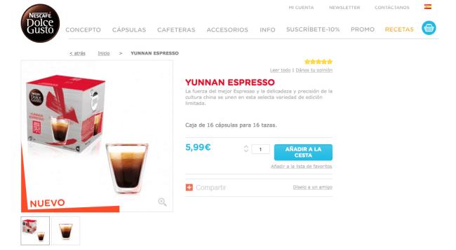 Dolce Gusto Yunnan espresso: comprar en la web