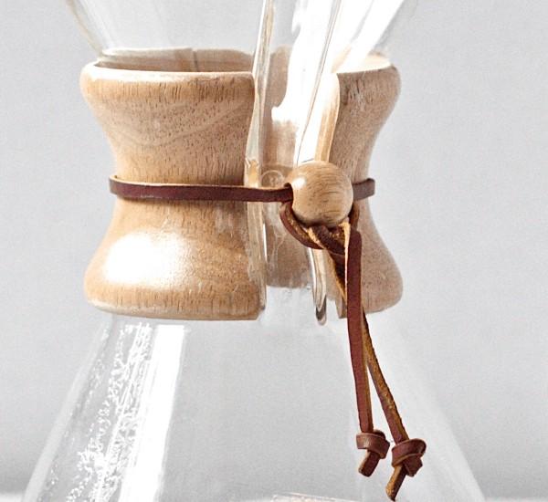 Detalle del aro de madera de una Chemex