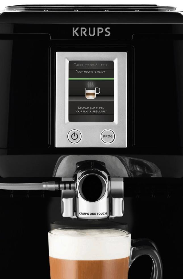 Vista frontal de la cafetera automática Krups EA850b