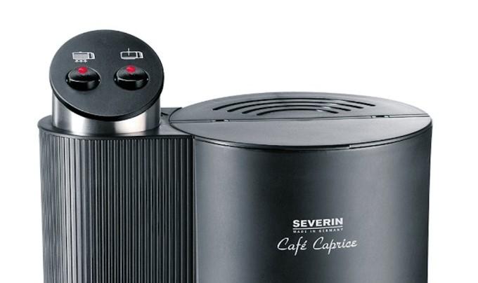Detalle de la parte superior de la cafetera Severin Cafe Caprice
