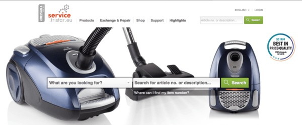 Web de la tienda de Tristar EU