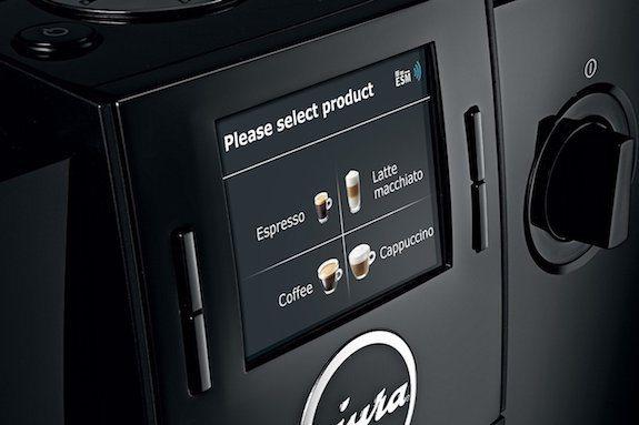 Detalle del panel de control de la cafetera Jura Impressa F8