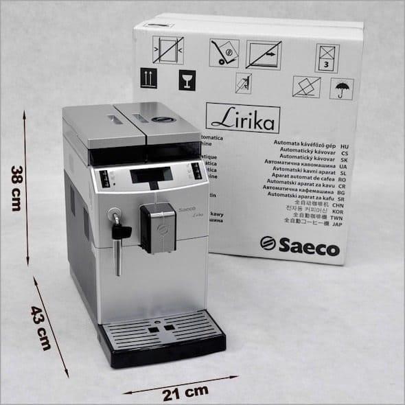 Foto de la Saeco Lirika - Dimensiones y caja