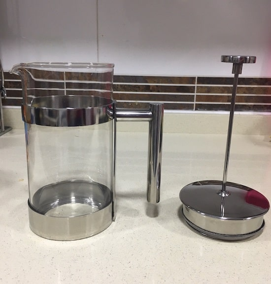 Imagen de los componentes de la cafetera Silberthal de acero inoxidable