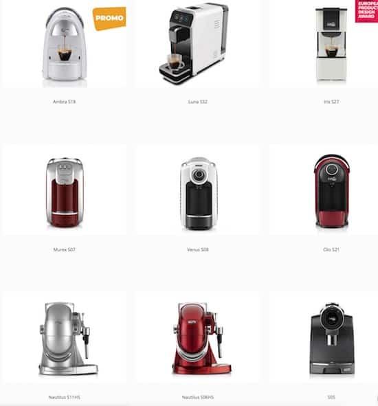 Imagen de todas las cafeteras de la marca Caffitaly
