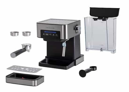 Foto de los componentes de la cafetera espresso Ikohs Tazzia de 20 bares